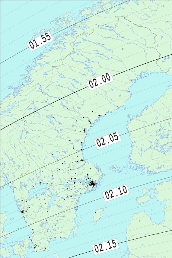 2017-12-31 Tiden då månen börjar ockultera Aldebaran sedd från Sverige