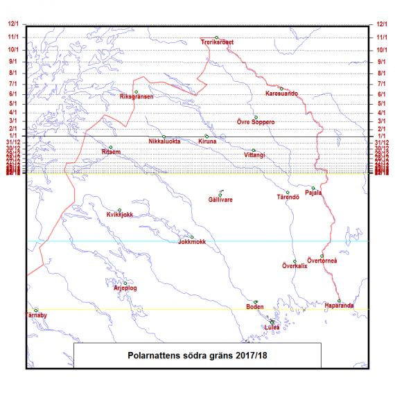 Polarnattens södra gräns på väg norrut efter vintersolståndet 2017