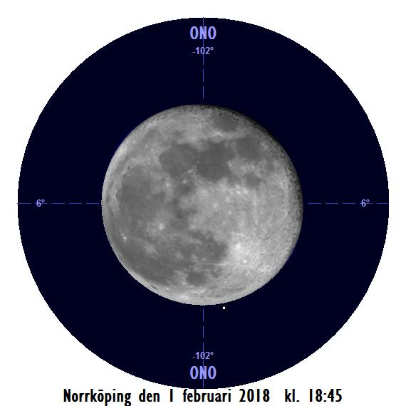 Månen och Regulus den 1 februari kl. 18:45 - strax innan månen ockulterar stjärnan