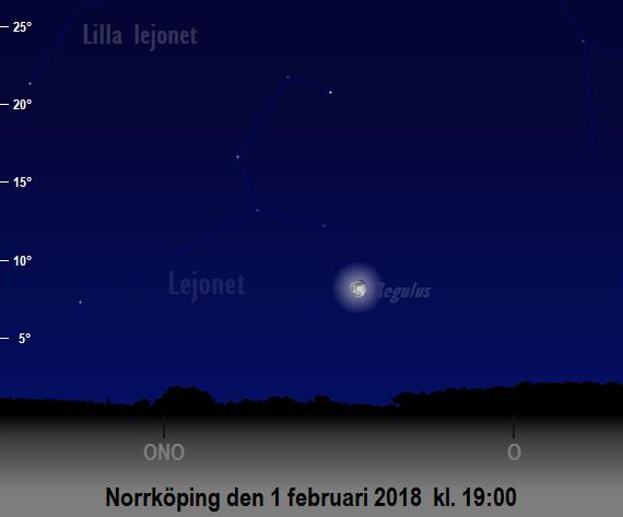 Månen ockulterar Regulus på tidiga kvällen den 1 februari 2018