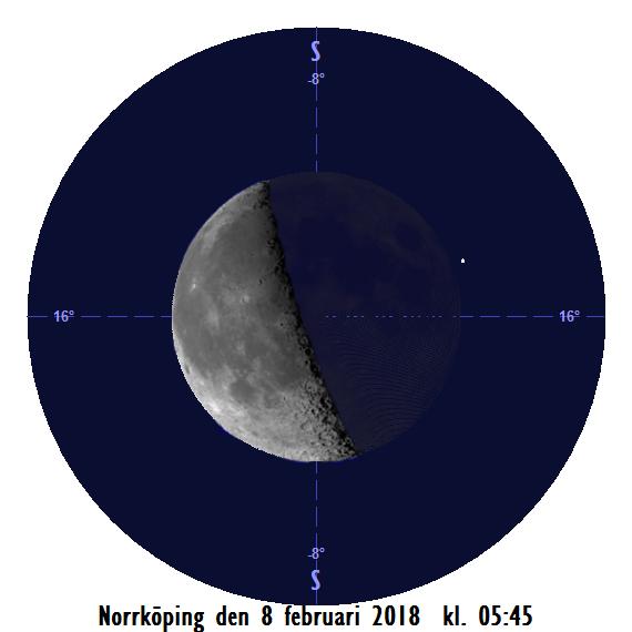 Månen och Zuben Elakrab den 8 februari kl. 05:45 - strax efter att månen har slutat ockultera stjärnan