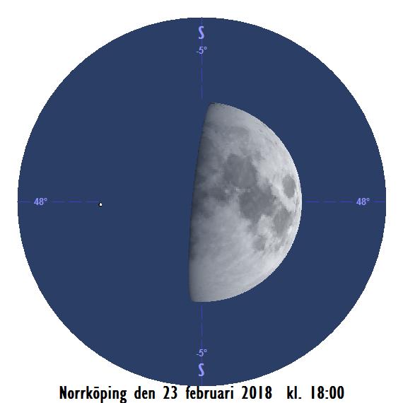 Månen och Aldebaran den 23 februari kl. 18:00 - strax innan månen ockulterar stjärnan