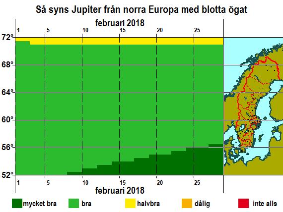 Så syns Jupiter från norra Europa med blotta ögat i februari 2018