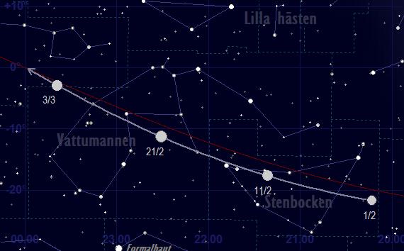 Merkurius bana framför stjärnhimlen i februari 2018