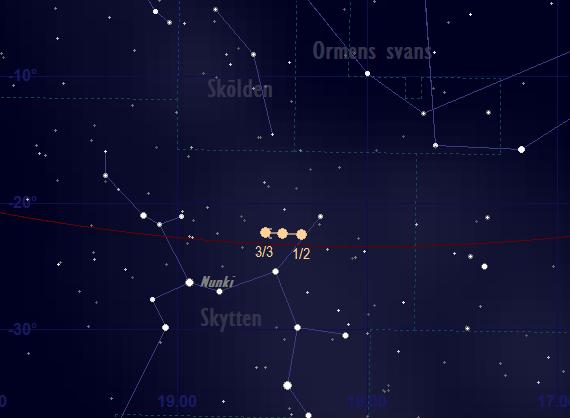 Saturnus bana framför stjärnhimlen i februari 2018