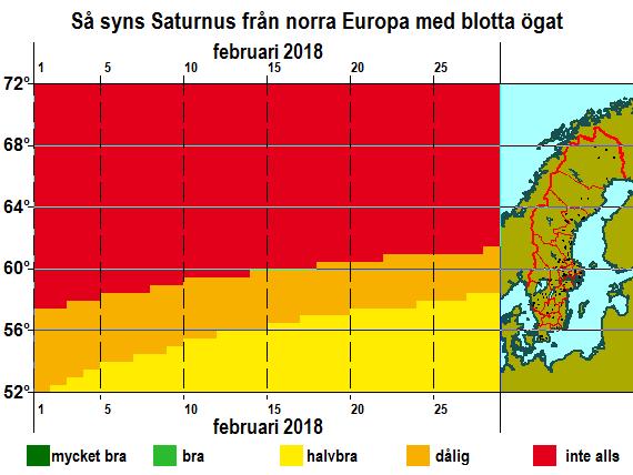 Så syns Saturnus från norra Europa med blotta ögat i februari 2018