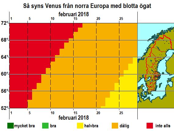 Så syns Venus från norra Europa med blotta ögat i februari 2018