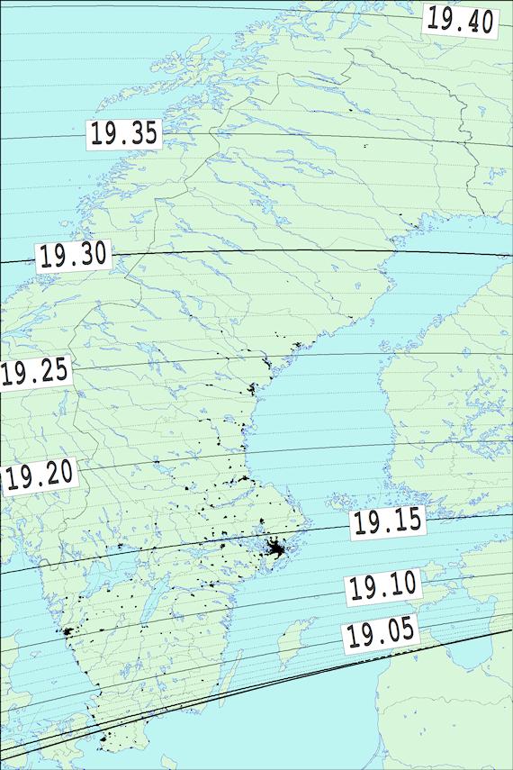 2018-02-01 Tiden då månen slutar ockultera Regulus sedd från Sverige