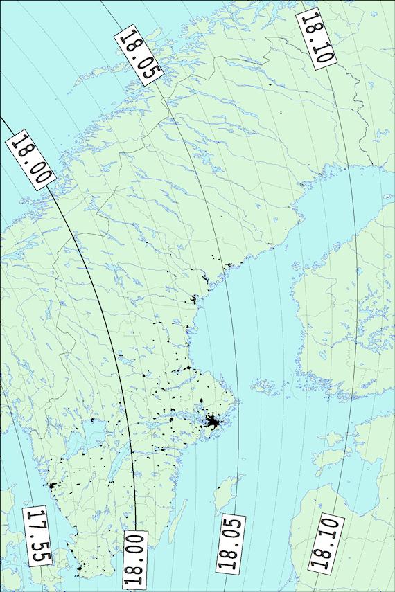 2018-02-23 Tiden då månen börjar ockultera Aldebaran sedd från Sverige