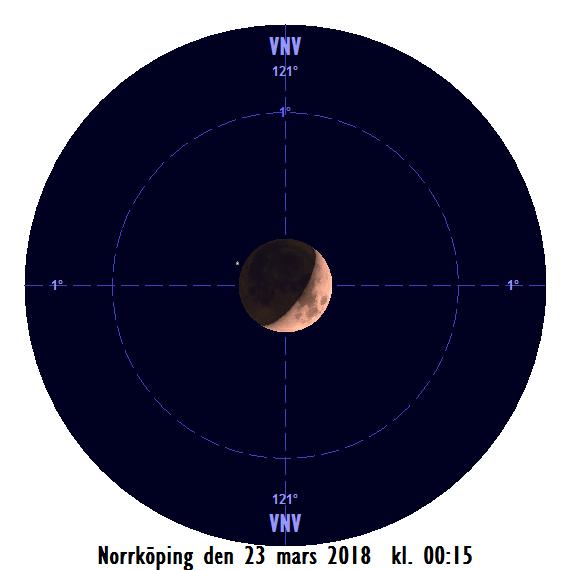 Månen och Aldebaran den 23 februari kl. 00:15 - strax innan månen ockulterar stjärnan