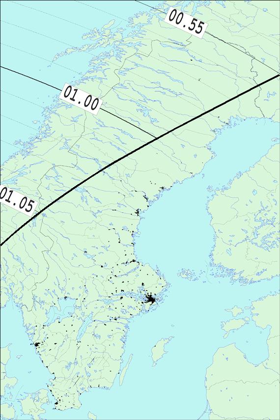2018-03-23 Tiden då månen slutar ockultera Aldebaran sedd från Sverige