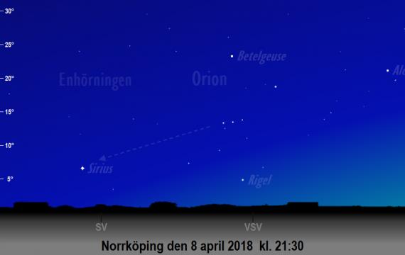Himlen mot sydväst den 8 april 2018 kl. 21:30