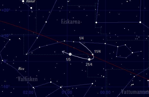 Merkurius bana framför stjärnhimlen i april 2018