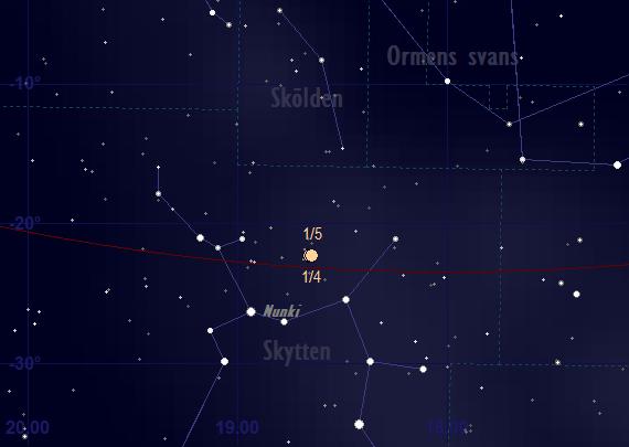 Saturnus bana framför stjärnhimlen i april 2018