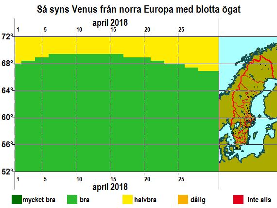 Så syns Venus från norra Europa med blotta ögat i april 2018