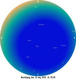 Stjärnkarta som gäller i mitten på månaden vid den borgerliga gryningens början