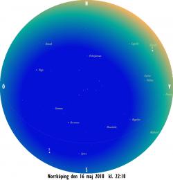 Stjärnkarta som gäller i mitten på månaden vid den borgerliga skymningens slut
