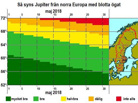Så syns Jupiter från norra Europa med blotta ögat i maj 2018