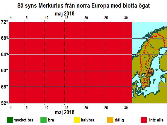 Så syns Merkurius från norra Europa med blotta ögat i maj 2018