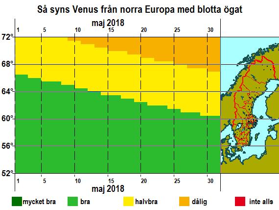 Så syns Venus från norra Europa med blotta ögat i maj 2018
