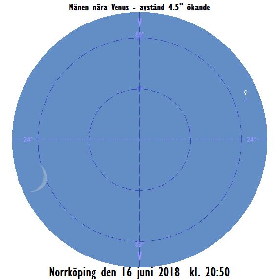 Månen nära Venus den 16 juni 2018 kl. 20:50