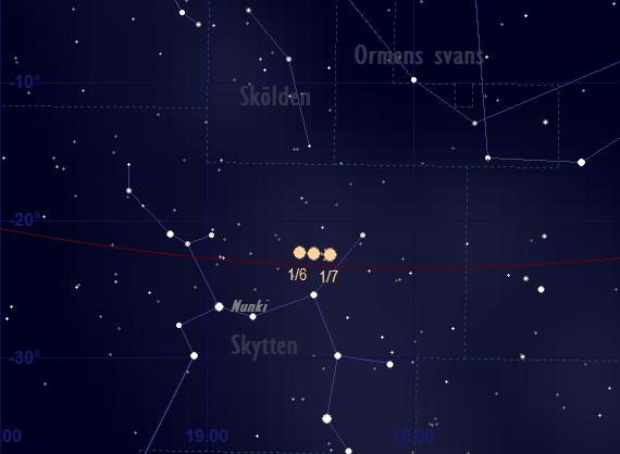 Saturnus bana framför stjärnhimlen i juni 2018