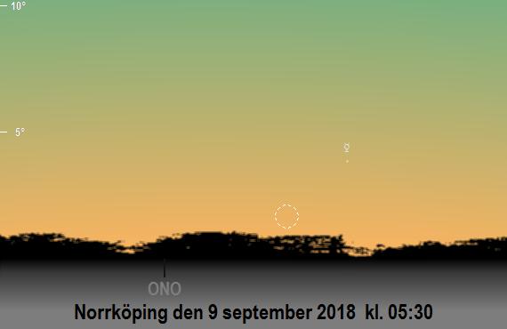 Merkurius och månskärans position på himlen mot ostnordost på morgonen den 9 september 2018 kl. 05:30 (sedd från Norrköping)