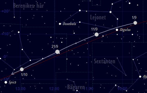 Merkurius bana framför stjärnhimlen i september 2018