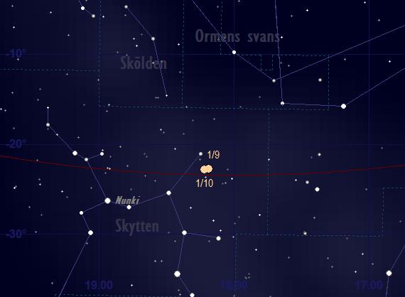 Saturnus bana framför stjärnhimlen i september 2018