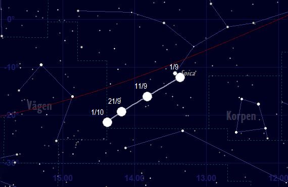 Venus bana framför stjärnhimlen i september 2018