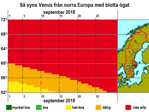 Så syns Venus från norra Europa med blotta ögat i september i 2018