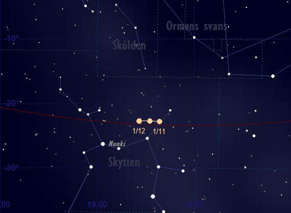 Saturnus bana framför stjärnhimlen i november 2018