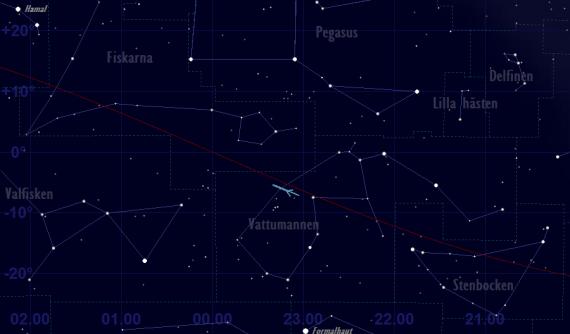 Neptunus skenbara bana framför stjärnhimlen 2019 - översiktskarta
