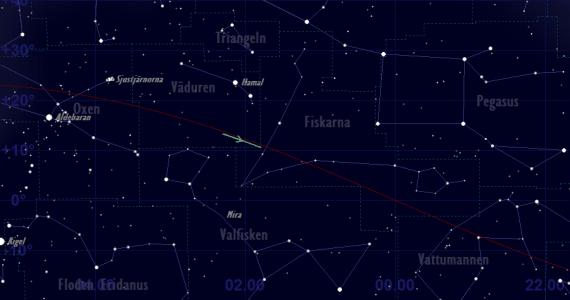 Uranus skenbara bana framför stjärnhimlen 2019 - översiktskarta