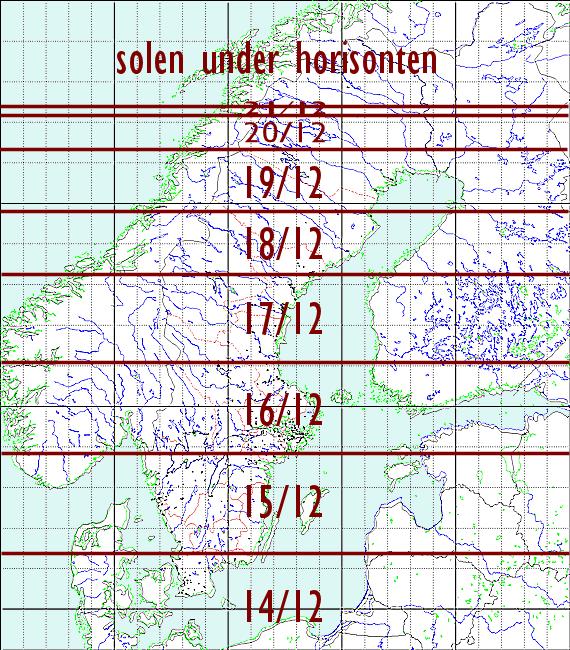 Datum för solens tidigaste solnedgång över norra Europa år 2018