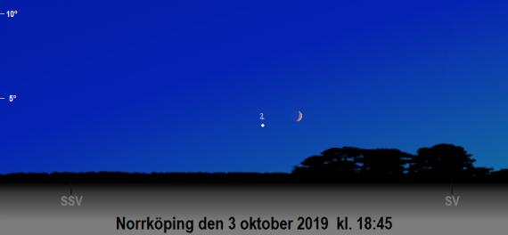 Månen nära Jupiter på kvällen den 3 oktober 2019 kl. 18:45 (sedd från Norrköping)
