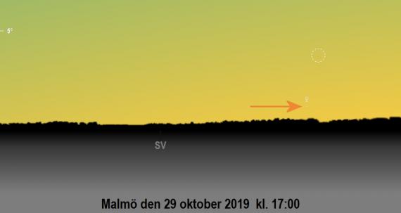 Månen nära Venus på kvällen den 29 oktober 2019 kl. 17:00 (sedd från Malmö)
