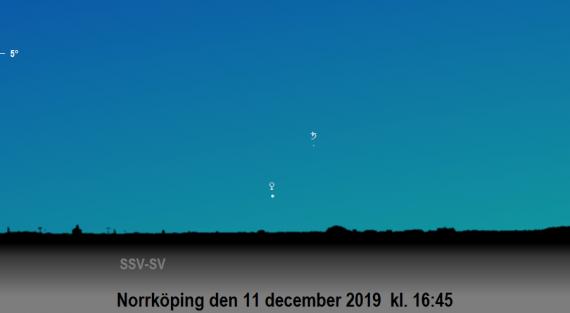 Venus nära Saturnus på kvällen den 11 december 2019 kl. 16:45 (sedd från Norrköping)