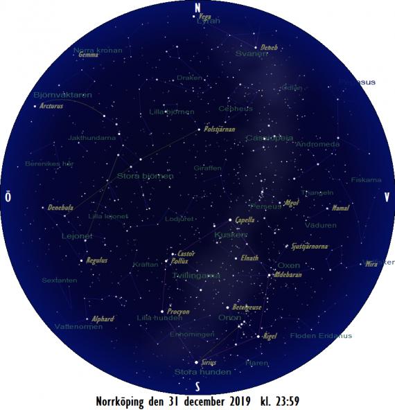 Himlen på nyårsafton 2019 (ungefär) vid tolvslaget - kl. 23:59.