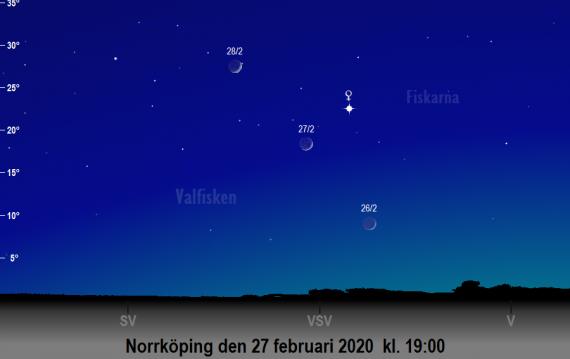 Venus och månens skära på himlen den 27 februari 2020 (samt kvällen före och efter) kl. 19:00 (sedd från Norrköping)