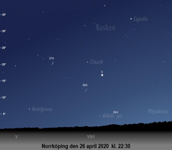 Venus och månens skära på himlen den 26 april 2020 (samt kvällen före och efter) kl. 22:30 (sedd från Norrköping)