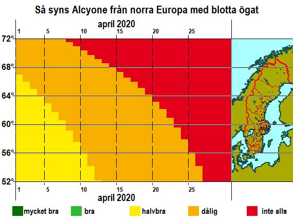 Så syns Alkyone från norra Europa med blotta ögat i april 2020