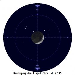 Månen ockulterar Alkyone i Plejaderna på kvällen den 1 april 2025 sedd från Norrköping (obs - normaltid)