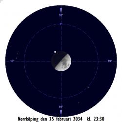 Månen ockulterar Aldebaran i Oxen på kvällen den 25 februari 2034 sedd från Norrköping
