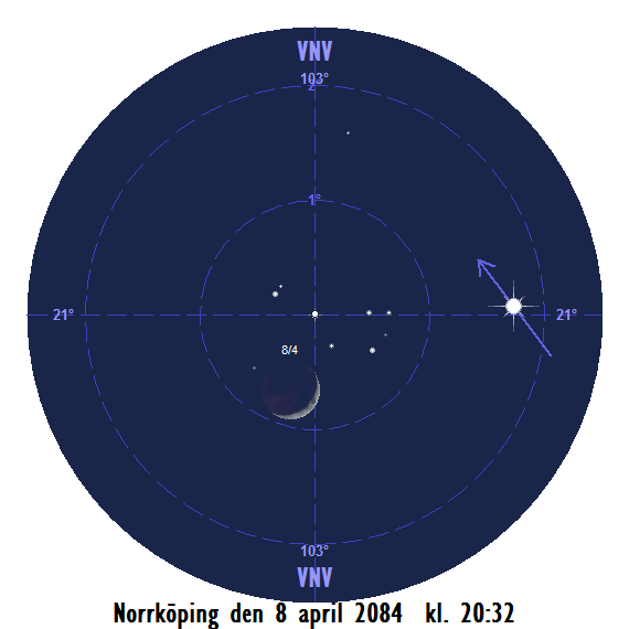 Månen och Venus runt den öppna stjärnhopen Plejaderna på kvällen den 8 april 2084
