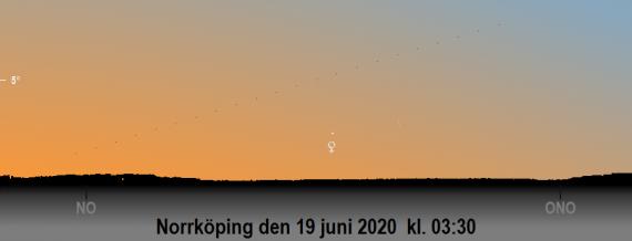 Himlen mot nordost på tidiga morgonen den 19 juni 2020 kl. 03:30 svensk sommartid. Månens skära till höger om Venus (sedd från Norrköping)