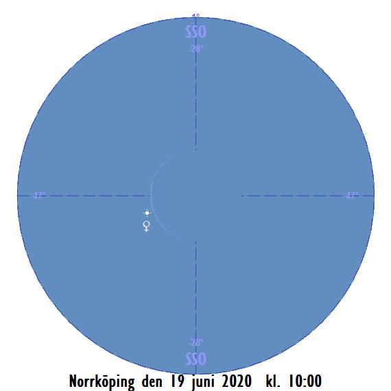 Månens skära och Venus i kikaren den 19 juni 2020 kl. 10:00 (sedd från Norrköping)