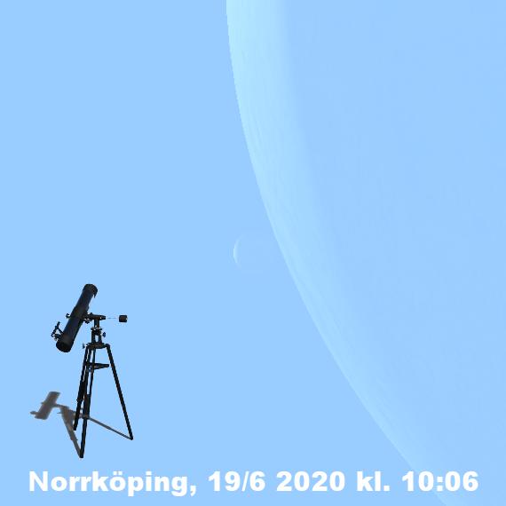Månens skära och Venus skära den 19 juni 2020 kl. 10:06 (sedd genom ett teleskop i Norrköpingstrakten)