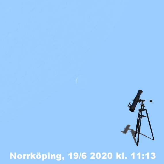 Månens skära och Venus skära den 19 juni 2020 kl. 11:13 (sedd genom ett teleskop i Norrköpingstrakten)