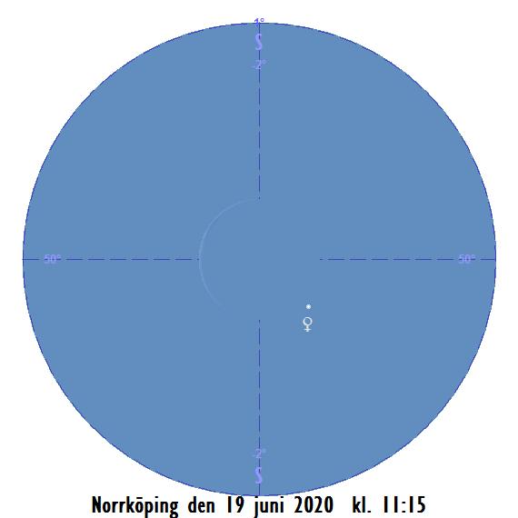Månens skära och Venus i kikaren den 19 juni 2020 kl. 11:15 (sedd från Norrköping)